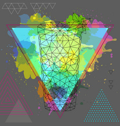 Hipster polygonal cocktail mojito on vector