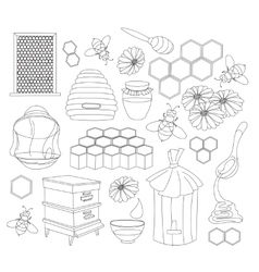 Honey set Design with apiary sketch elements vector