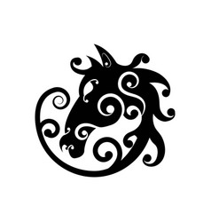 horse head abstract tattoo design isolated vector image