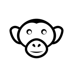 Icon monkey head isolated on white background - vector