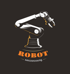 industrial robot on production on black background vector image