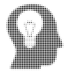 intellect bulb halftone icon vector image