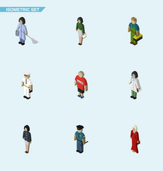 isometric human set of girl doctor guy and other vector image