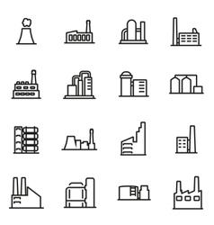 line factory icon set vector image