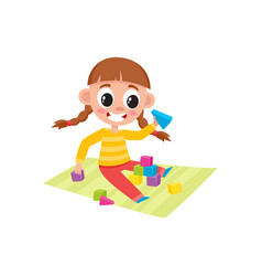 little girl playing with toy wooden blocks vector image