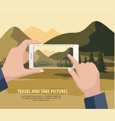 man taking photos of mountain landscape to phone vector image
