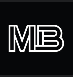 Mb logo monogram with line style negative space vector