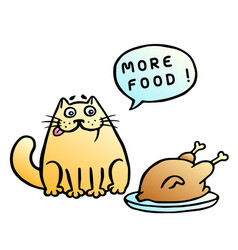more food speech bubble orange cat and fried vector image