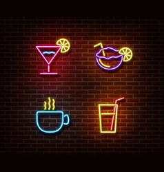 neon alcohol drinks signs isolated on brick vector image
