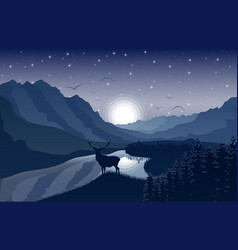 Night mountains landscape with deerstars on sky vector