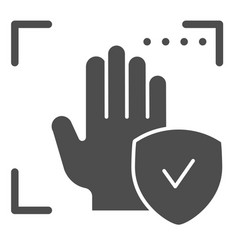 Palm recognition approved solid icon verification vector