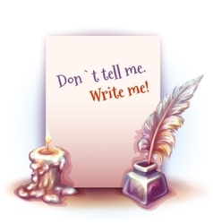 paper with candle and vector image