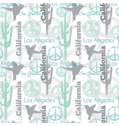 Pastel California Animals Travel Seamless vector