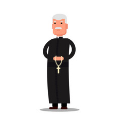 pastor character standing with cross isolated on vector image