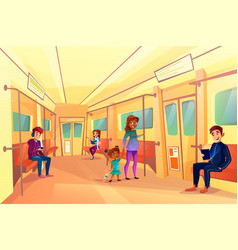 people in subway metro train vector image