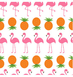 pineapple pink flamingo set seamless pattern vector image