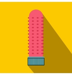 Pink vibrating sex toy icon flat style vector