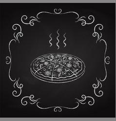 pizza drawn chalk on a blackboard vector image