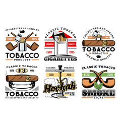 premium quality cigars tobacco cigarettes icons vector image