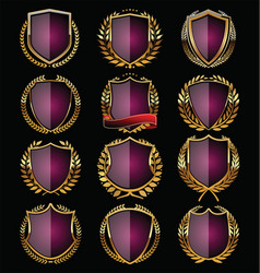 Purple shields collection vector