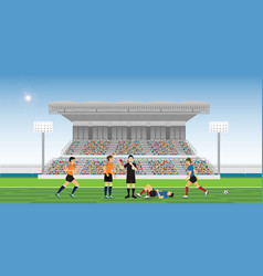referee blowing whistle and holding red card for vector image