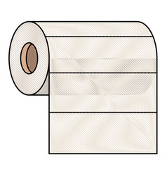 roll paper towel in colored crayon silhouette vector image