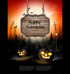scary halloween background with pumpkins vector image