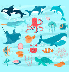 Sea animals cartoon ocean characters crab vector