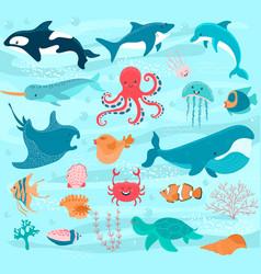 sea animals cartoon ocean characters crab vector image