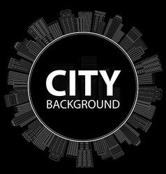Seamless circular frame of line skyscrapers Black vector