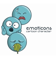 set emoticons character sad sick surprise design vector image