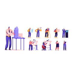 set male and female characters building vector image