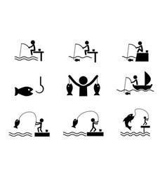 set of fishing icons in silhouette style vector image