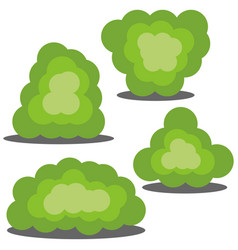 set of four different cartoon green bushes vector image