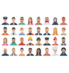 set people avatar icons vector image