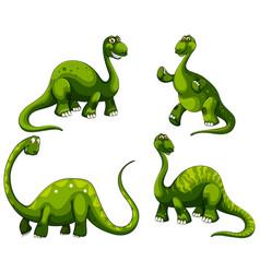 Set sauropod dinosaurs cartoon character vector