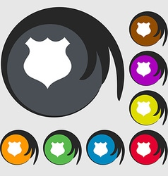 shield icon sign Symbols on eight colored buttons vector image