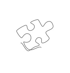 single continuous line drawing a puzzle piece vector image