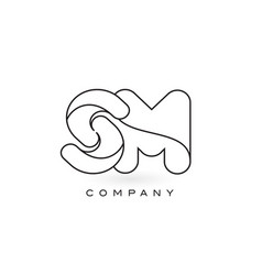Sm monogram letter logo with thin black monogram vector