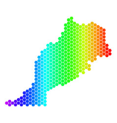 spectrum hexagon morocco map vector image