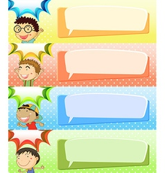 Speech bubble templates with four boys vector