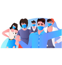 Stop asian hate mix race activists in masks vector