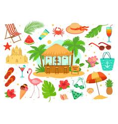 Summer sea beach objects set vector