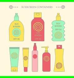 Sunscreen bottle set outline vector