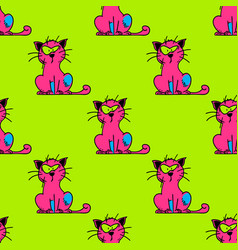 Suspicious cat seamless pattern vector