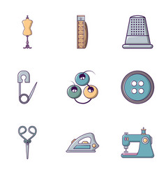 tailor equipment icons set flat style vector image