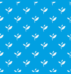 Tea leaf sprout pattern seamless blue vector