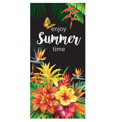 Template with tropical flowers vector