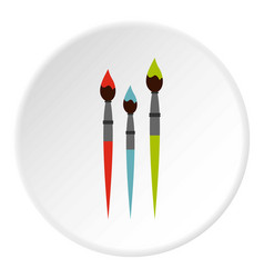 three paint brushes icon flat style vector image
