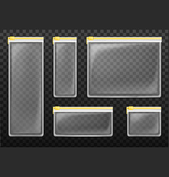 transparent zipper bags with yellow ziplock vector image
